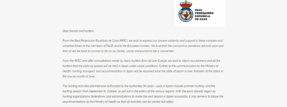 Писмото от Кралската ловна федерация на Испания до FACE