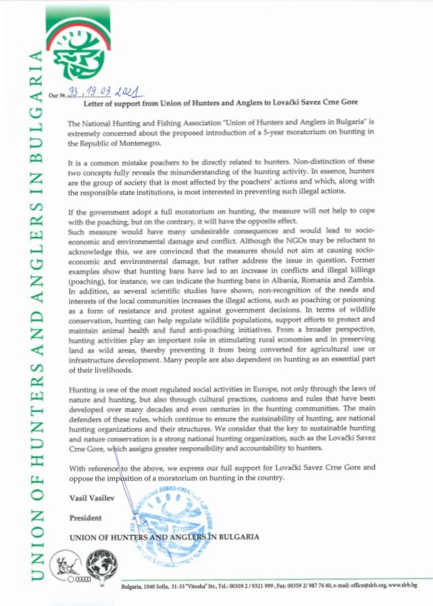 Писмо в подкрепа на ловната организация на Черна гора